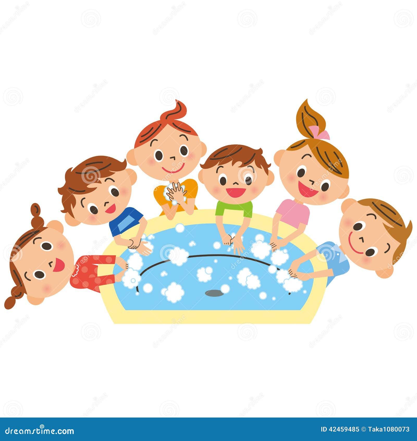 Waschende Kinder, Hand