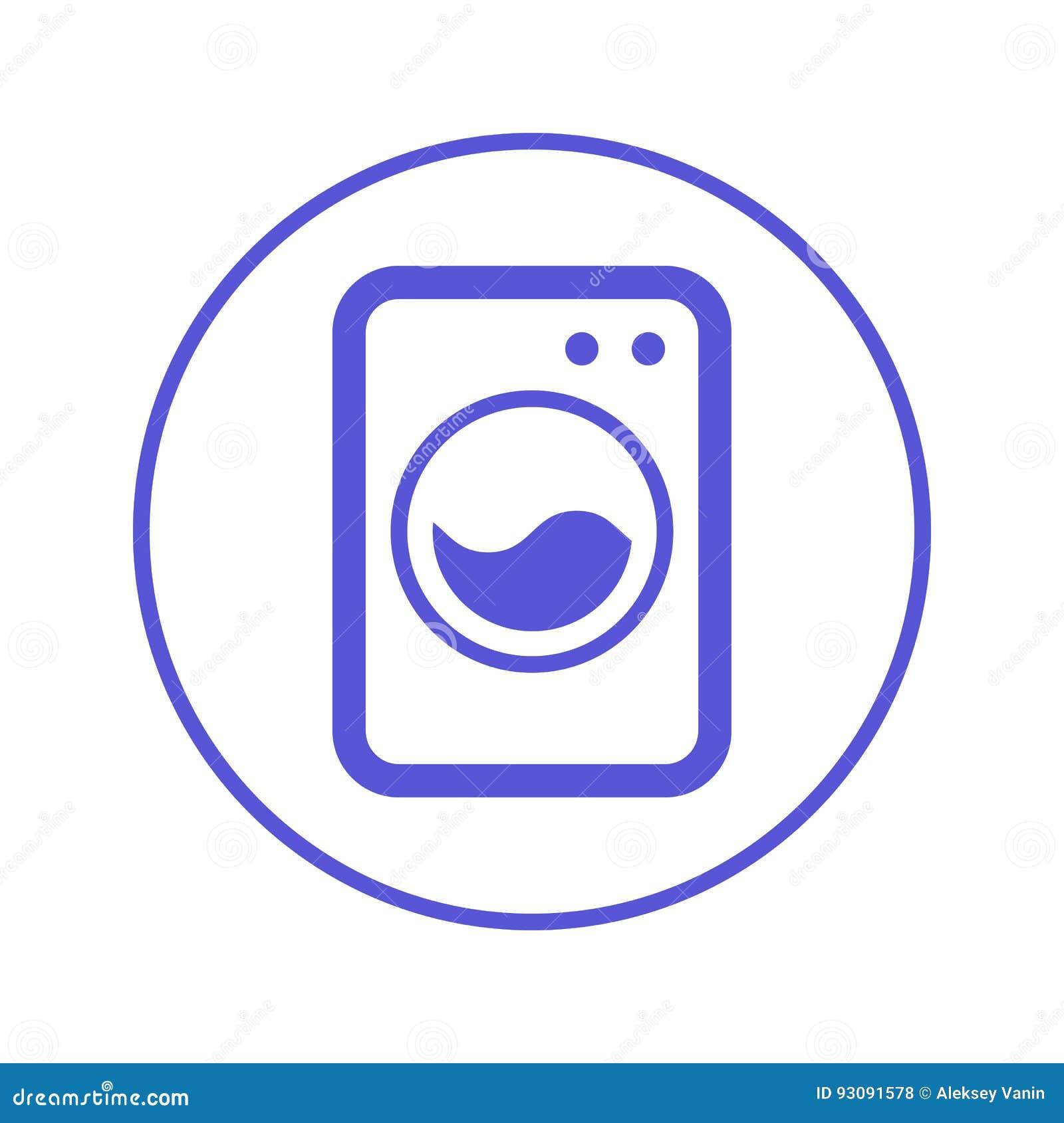 Waschmaschine Wäschereikreislinie Ikone Rundes Zeichen Flaches