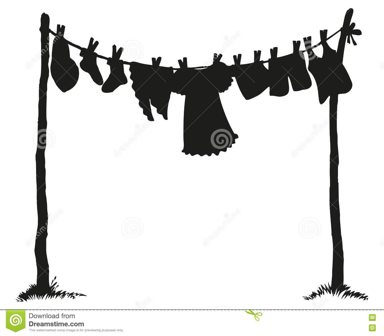 Wash Clothing On Clothesline. Vector Drawing Stock Vector