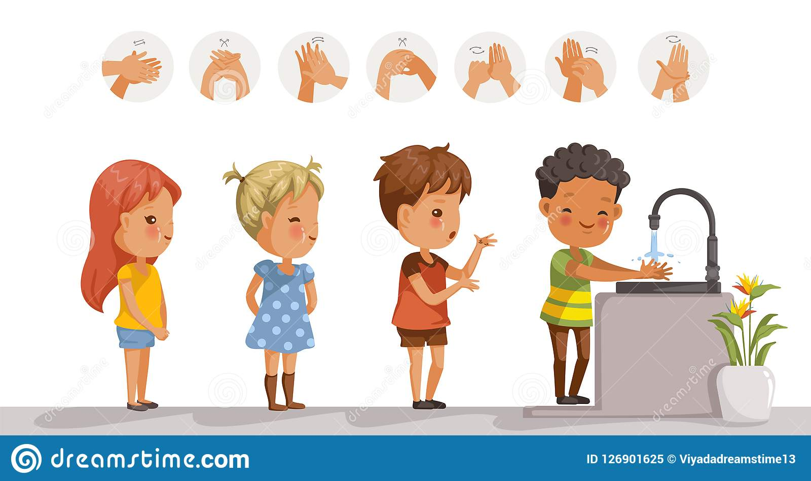 Kids Washing Face And Hand Vector Illustration ...