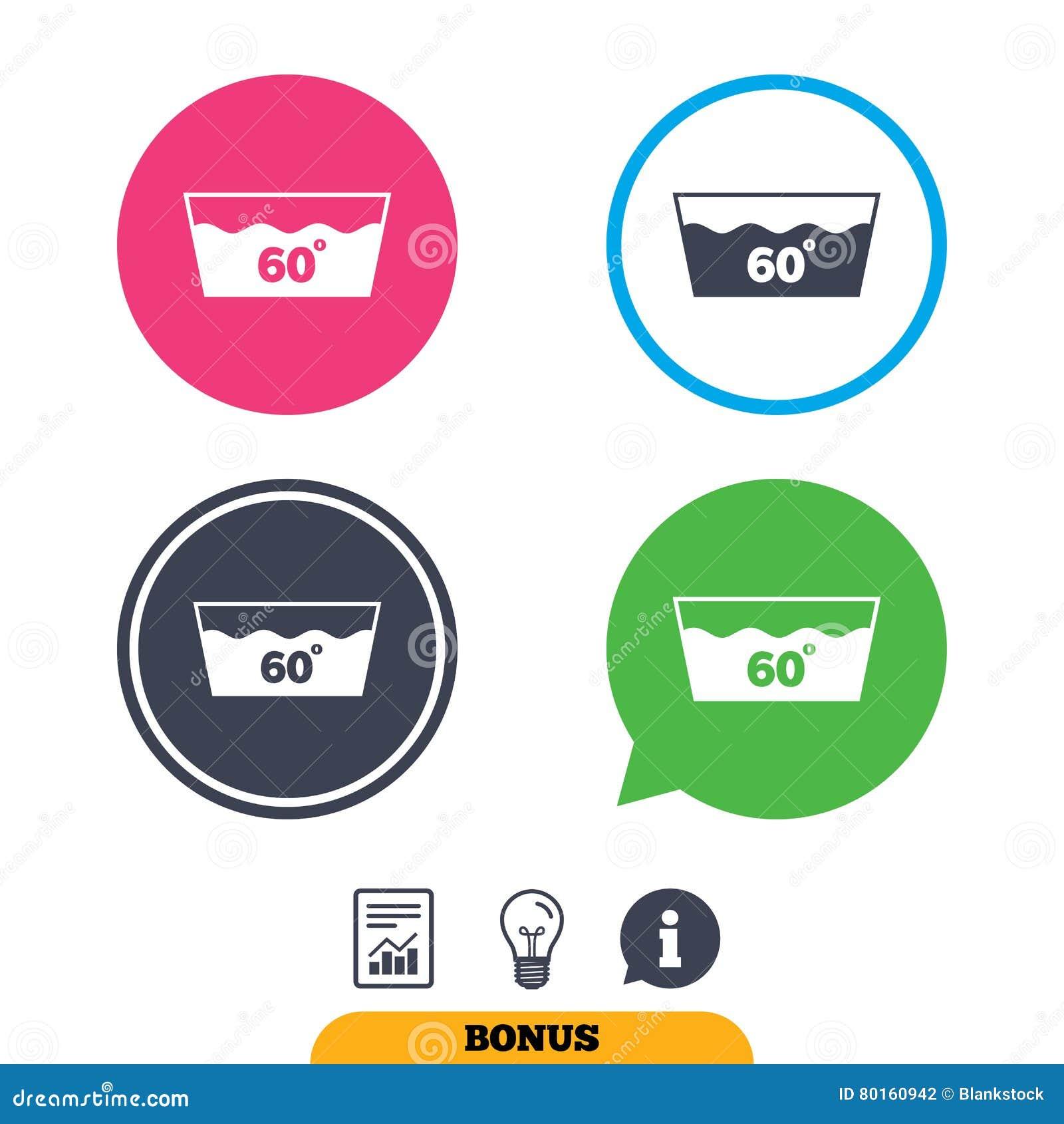 Wash Icon Machine Washable At 60 Degrees Symbol Illustration