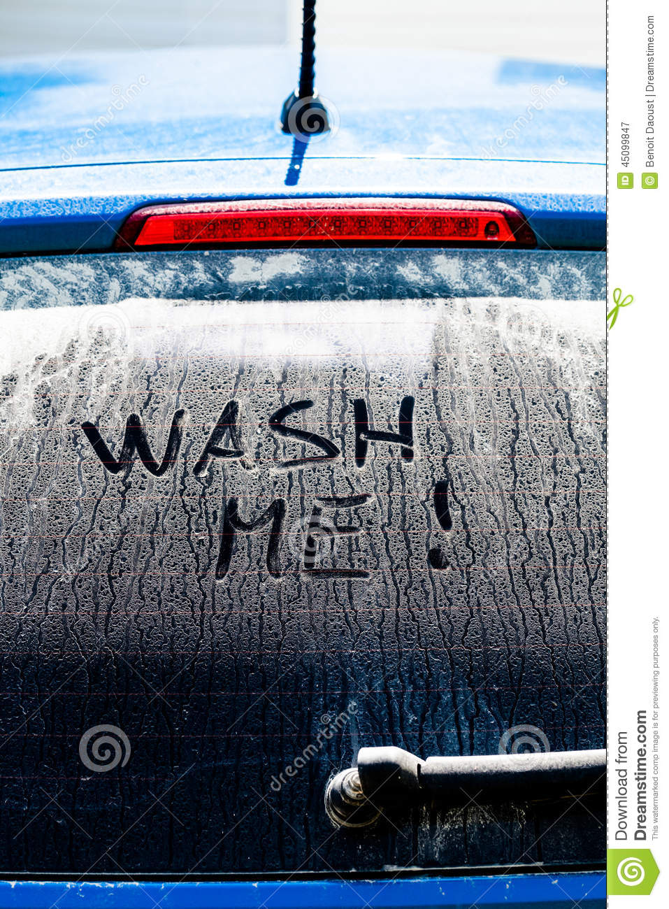 Wash Me Words On A Dirty Car Window Stock Image Image 45099847
