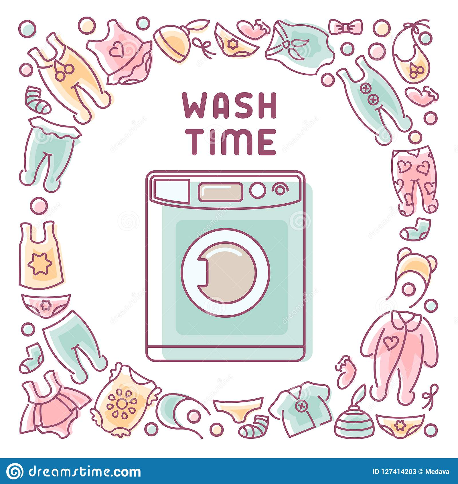 Wash Time Card With Washing Machine And Clothes Stock Vector