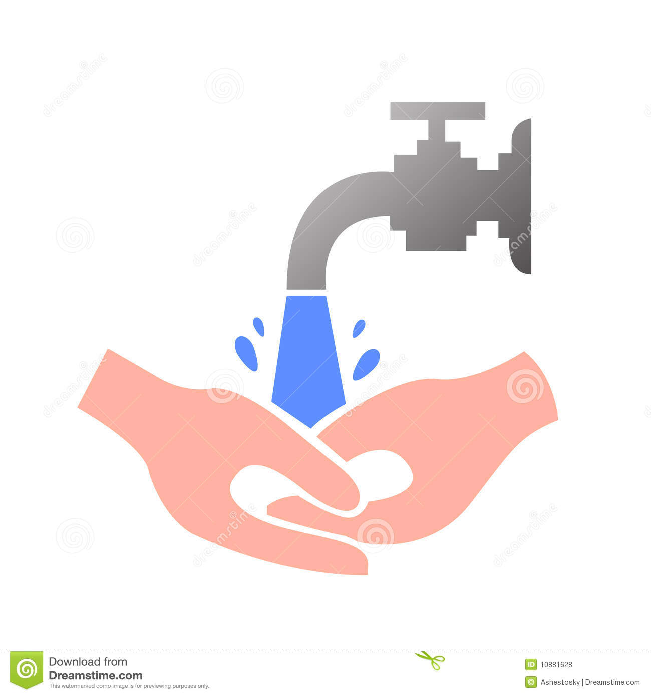 Vector illustration of someone washing and cleaning his hands under ...