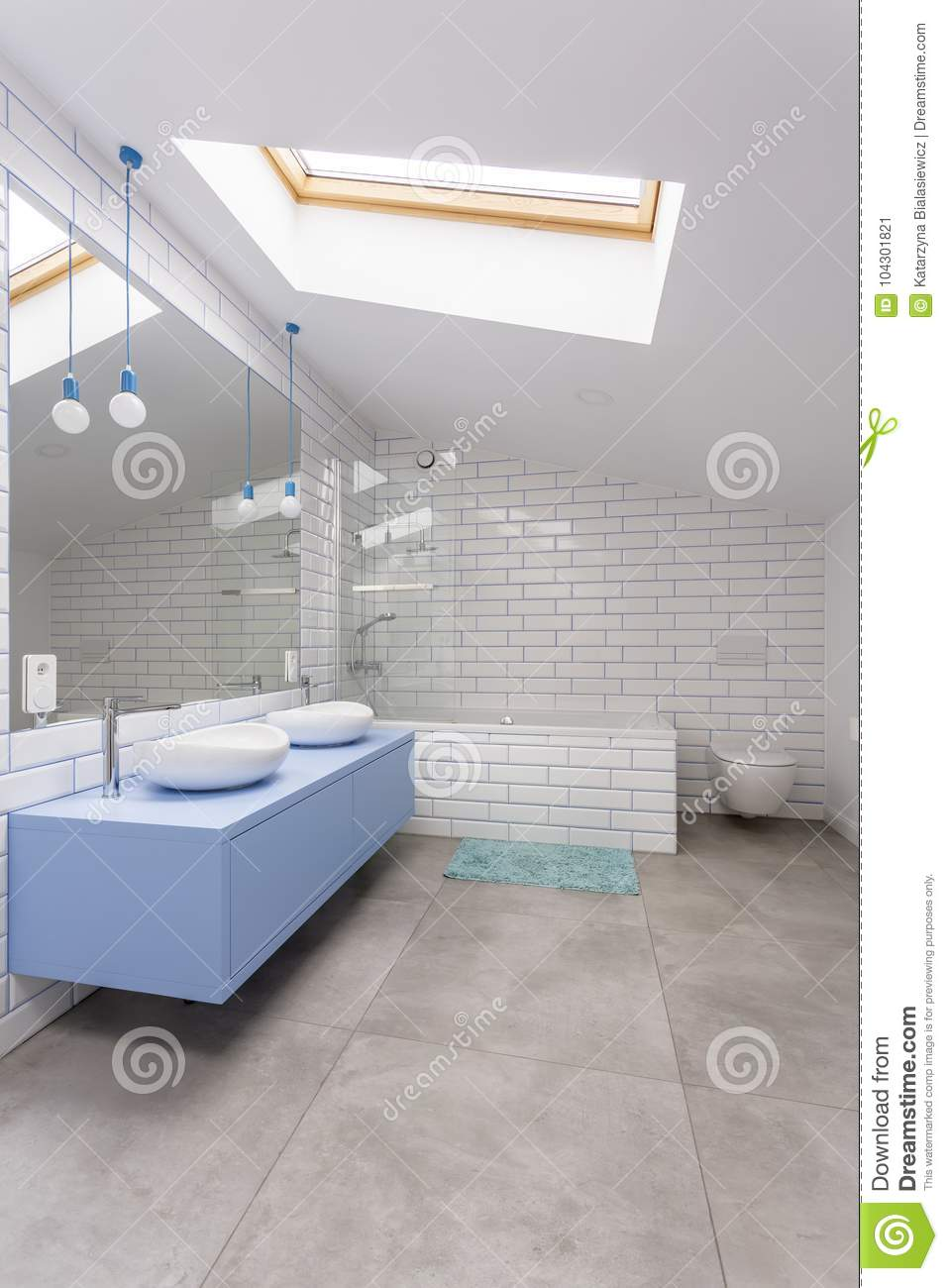 Blue Bathroom With Brick Wall Stock Image - Image of cabinet, open ...