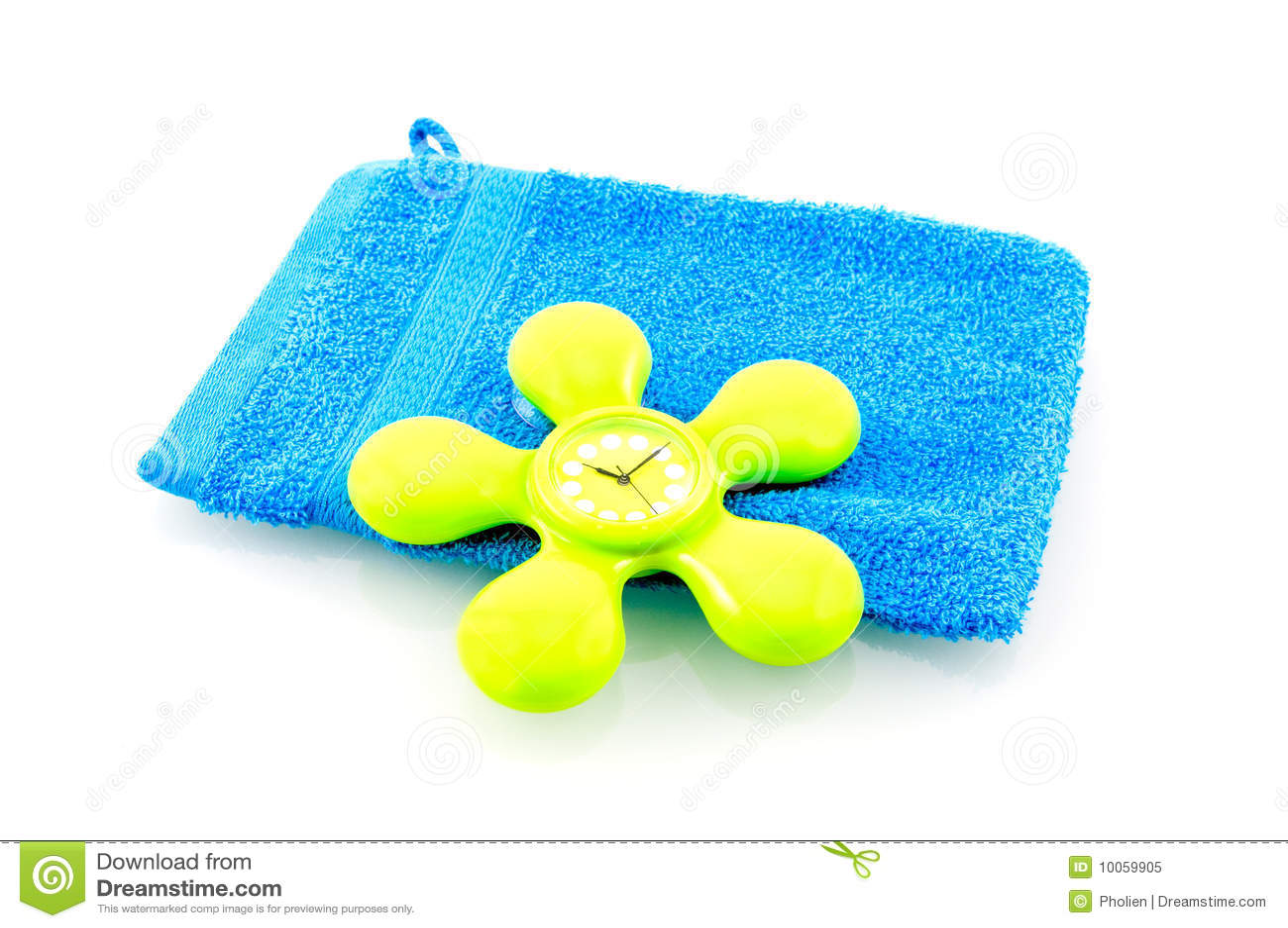 Washcloth azul com o pulso de disparo verde do chuveiro