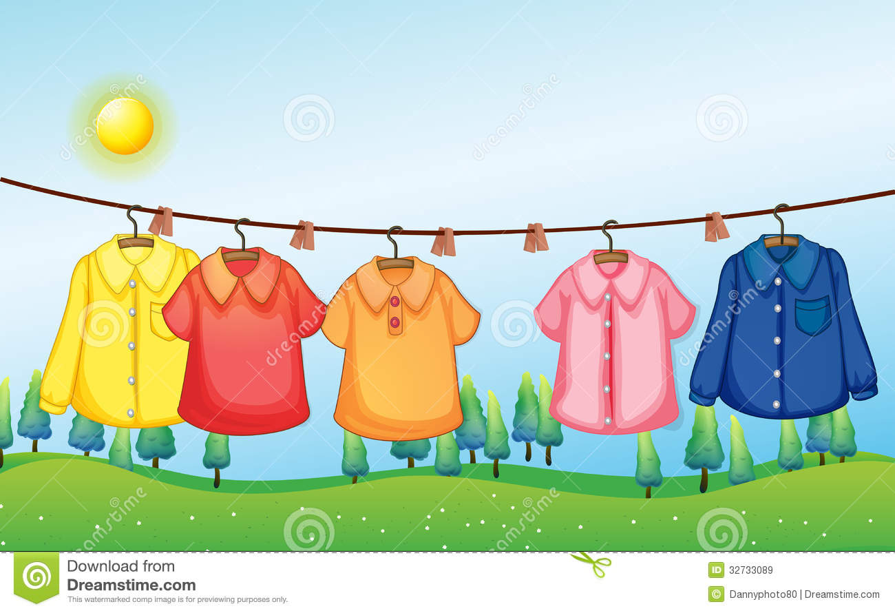 Washed Clothes Hanging Under The Sun Cartoon Vector