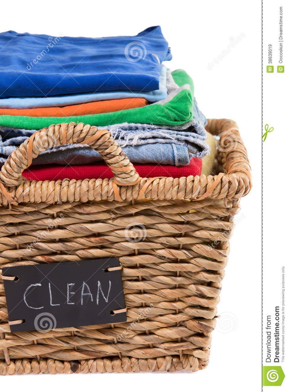 washed fresh clean clothes in a laundry basket stock image
