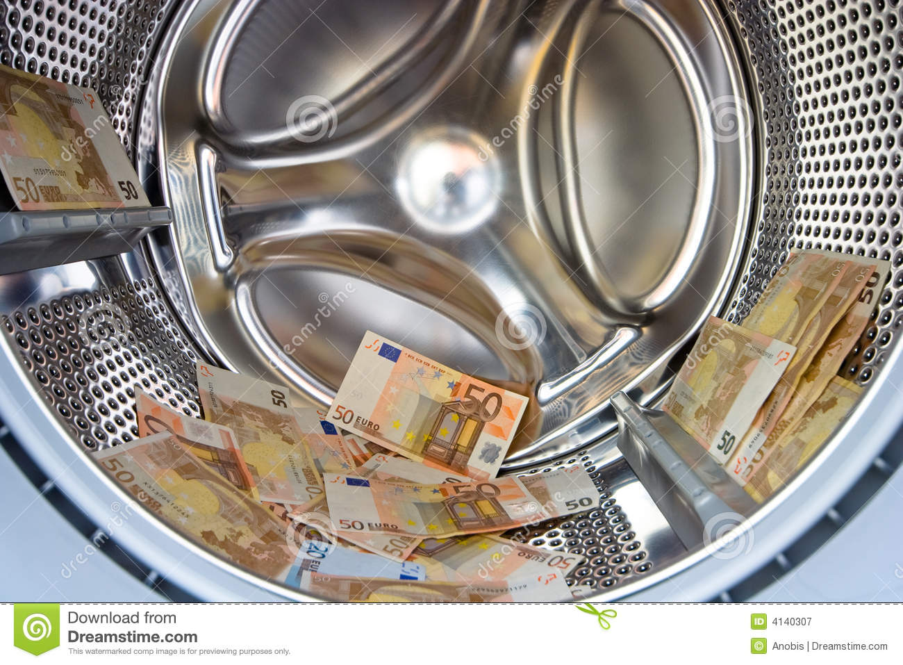 Washer inside with money