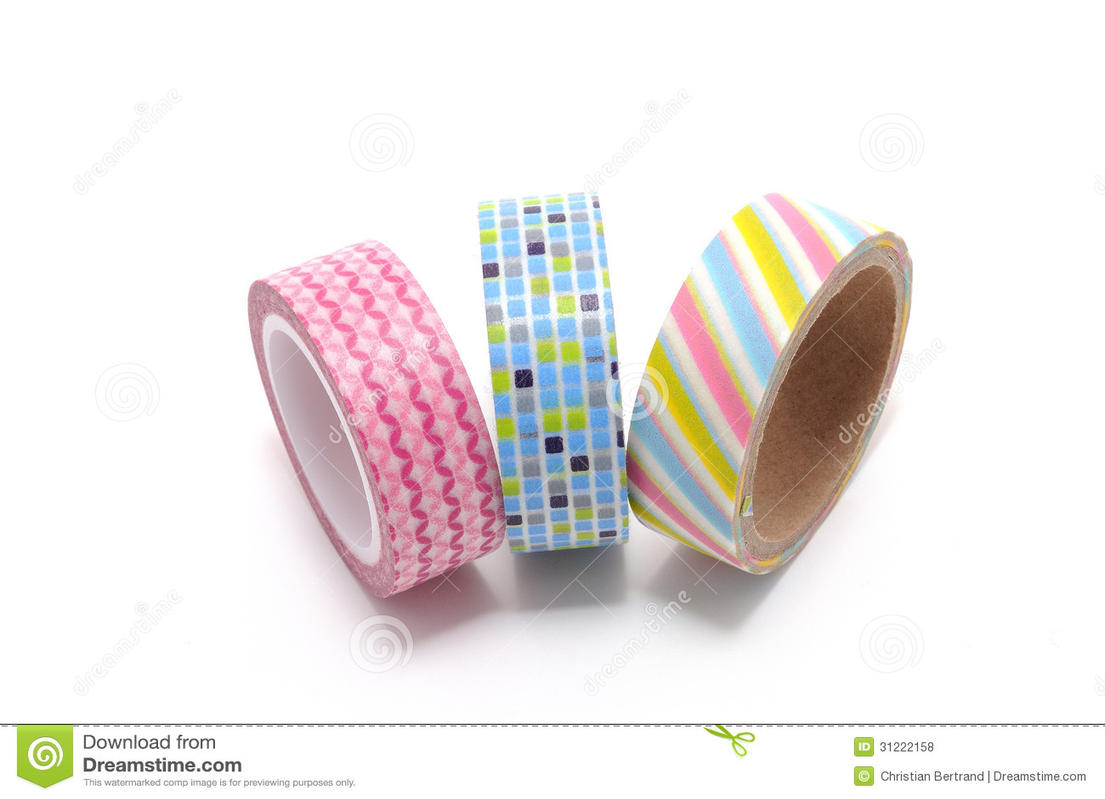 Washi tape isolated on white background stock photo for Decoration tape