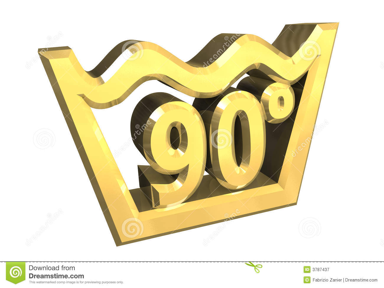 Washing 90 Degree Symbol In Gold Isolated 3d Stock Illustration
