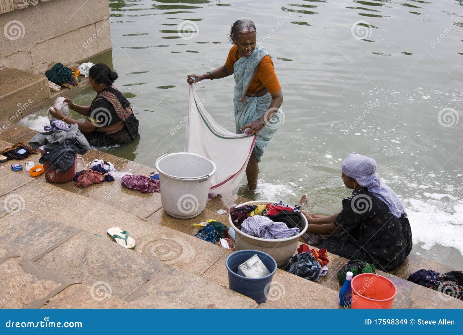 Washing Clothes Chettinad Tamil Nadu India Editorial