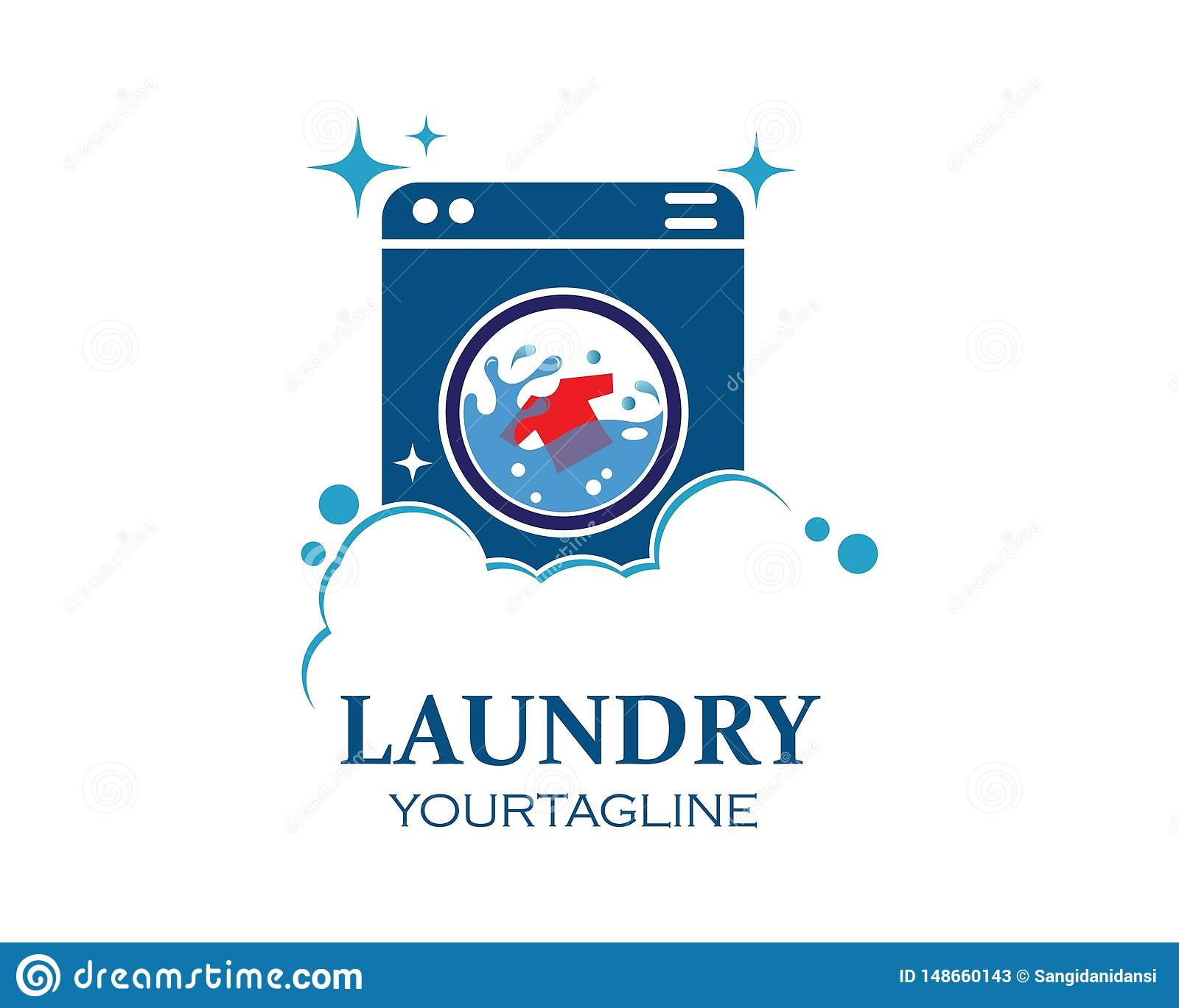 washing clothes logo icon vector of laundry service design