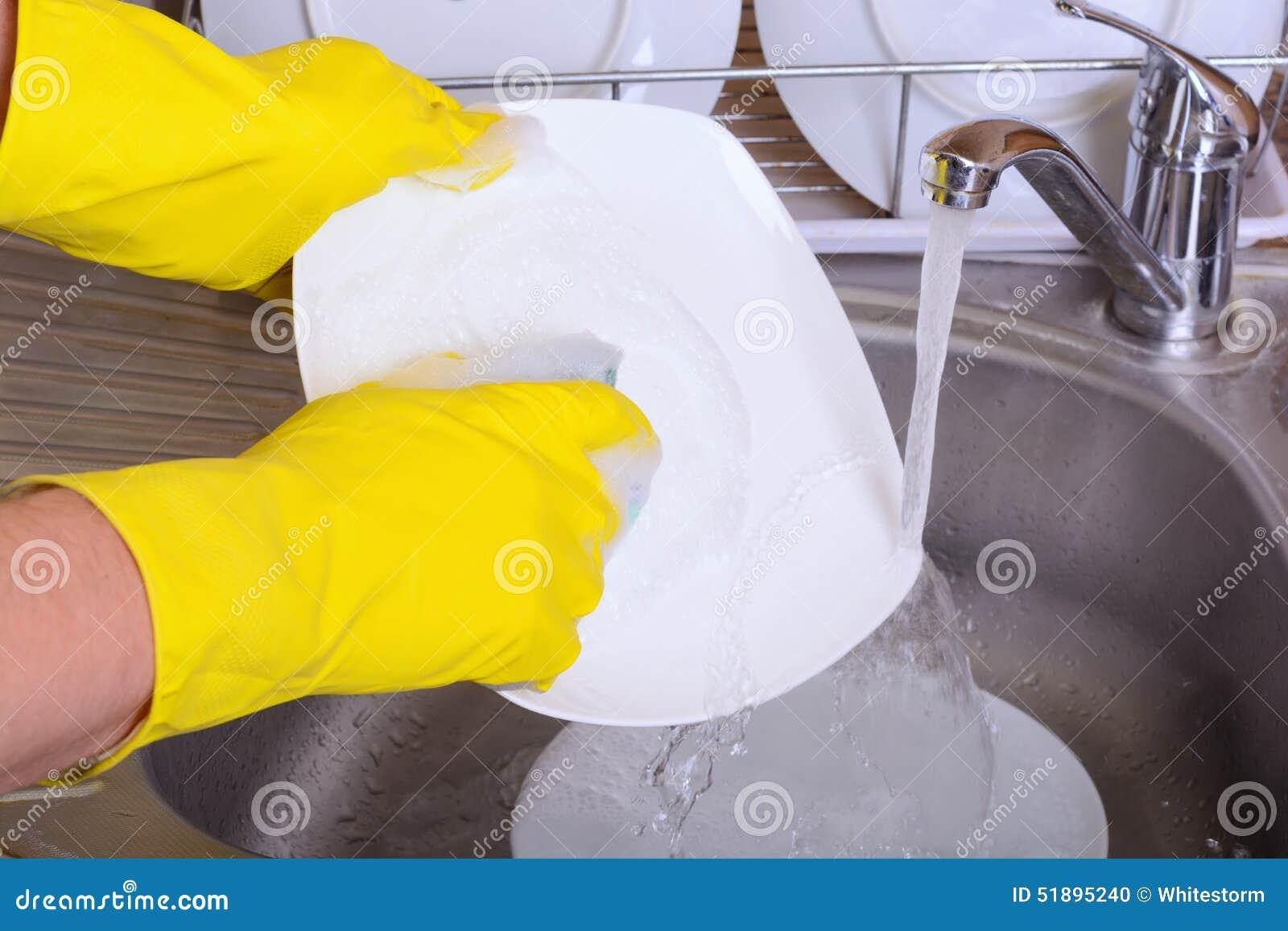 Washing Dish Stock Photo
