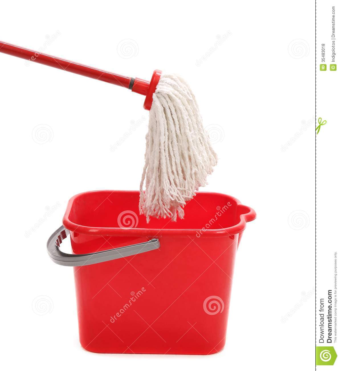 washing the floor with cleaning tools  stock photo