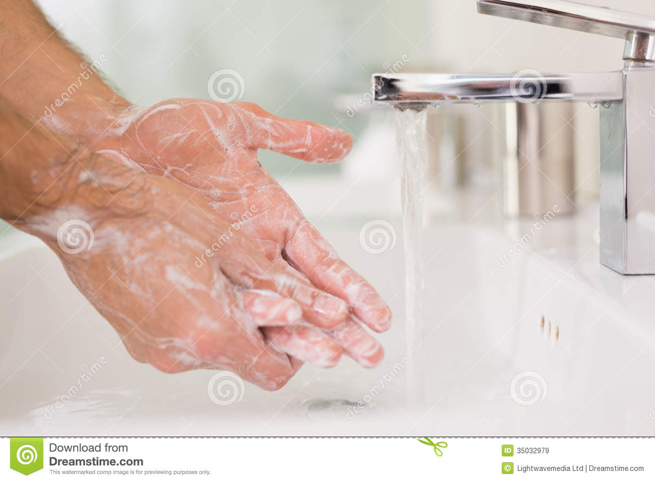Washing Hands With Soap Under Running Water Royalty Free
