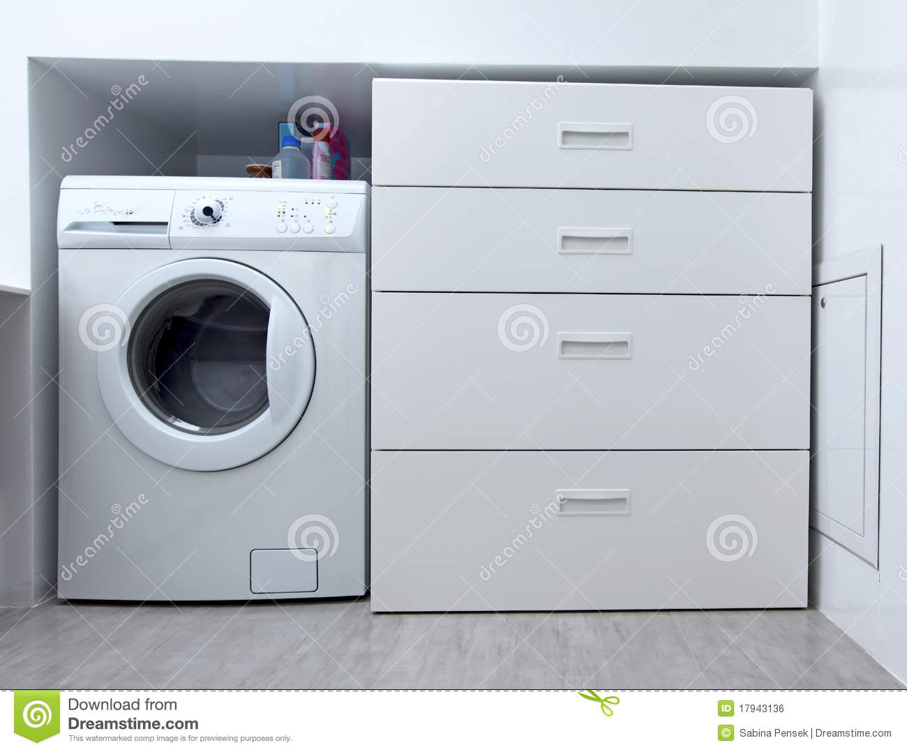 Washing Machine In The Bathroom Royalty Free Stock Image