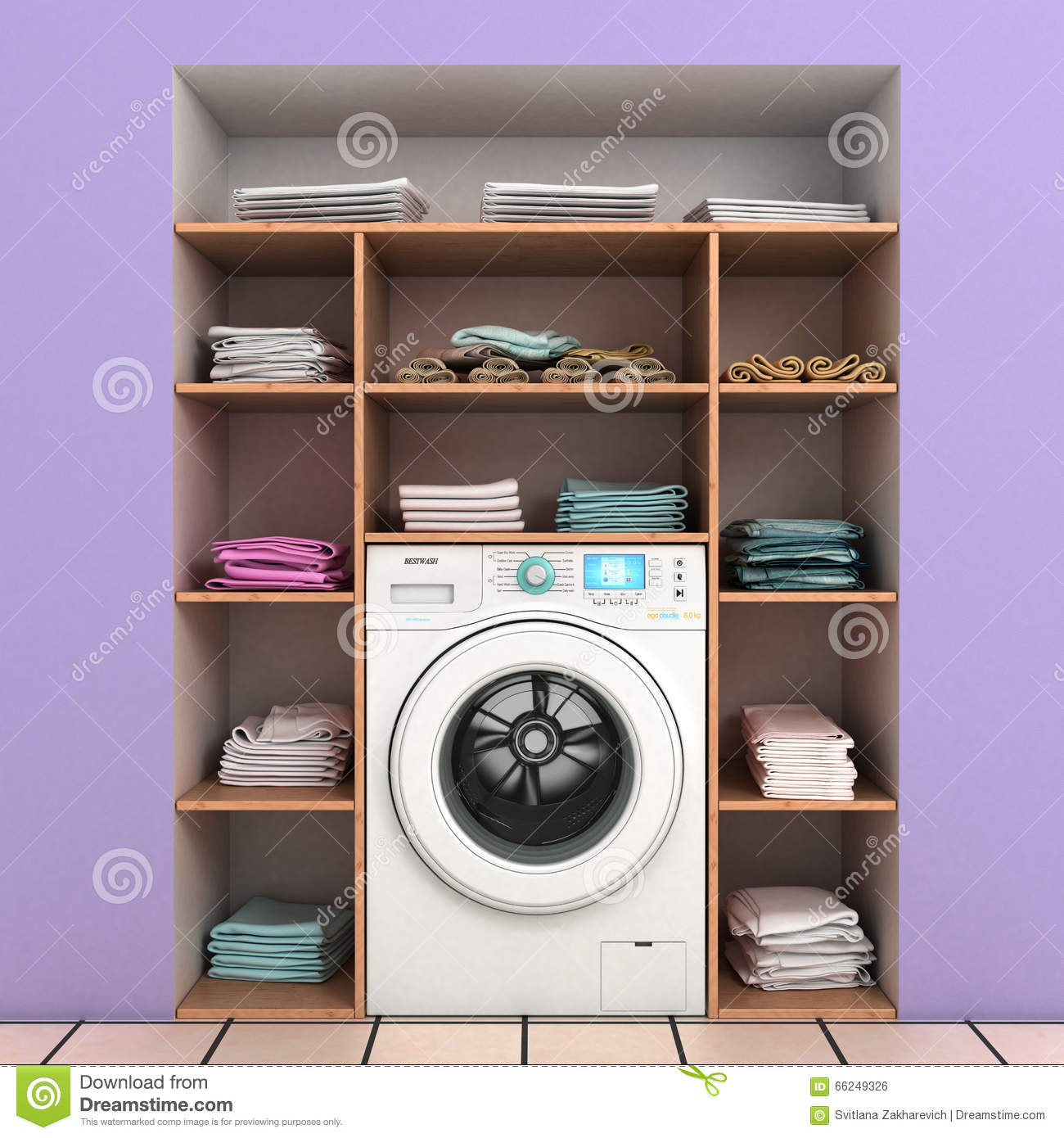 Washing Machine With Built-in Wall Shelves Stock Photo - Image of ...