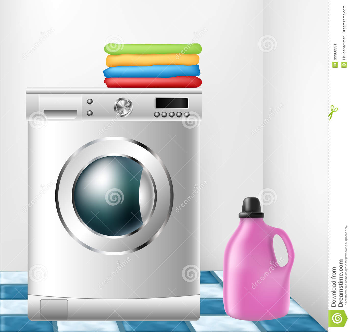 Washing Machine With Clothes And Detergent Bottle Stock