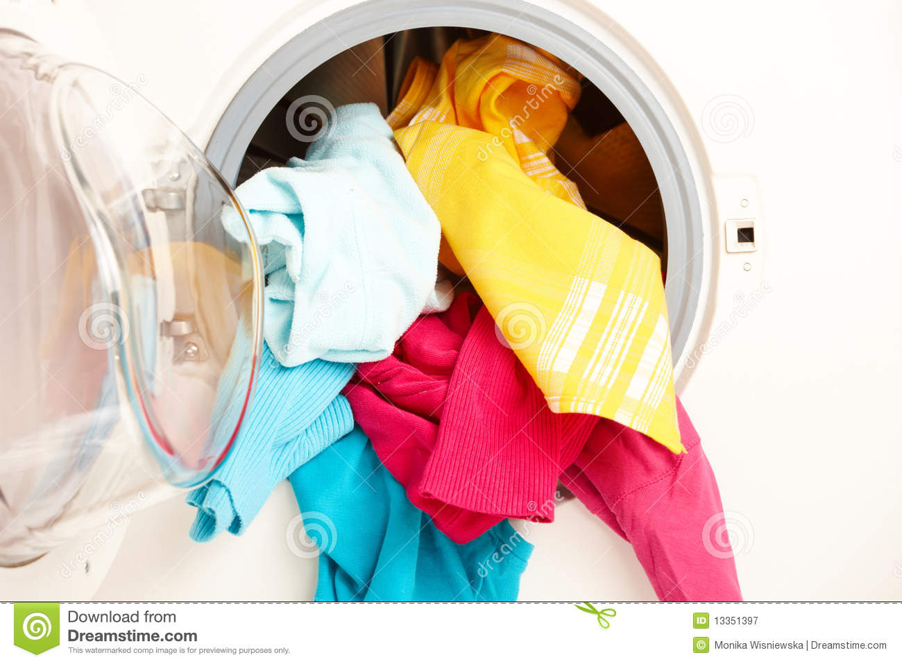 Washing Machine With Colorful Clothes Royalty Free Stock