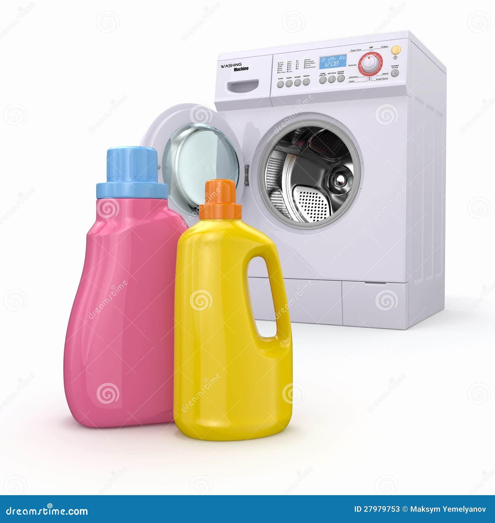 Washing Machine And Detergent Bottles Stock Photos Image