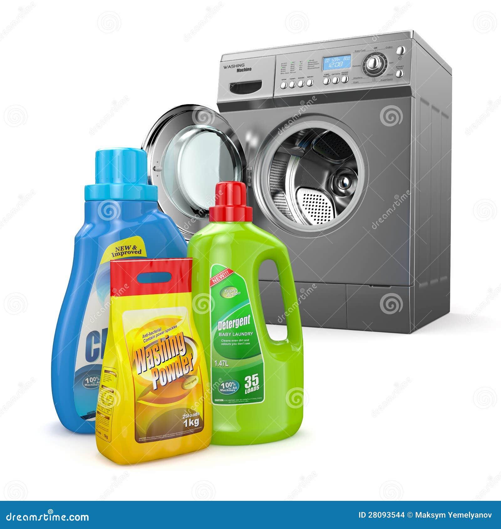 Washing Machine And Detergent Bottles Stock Images Image