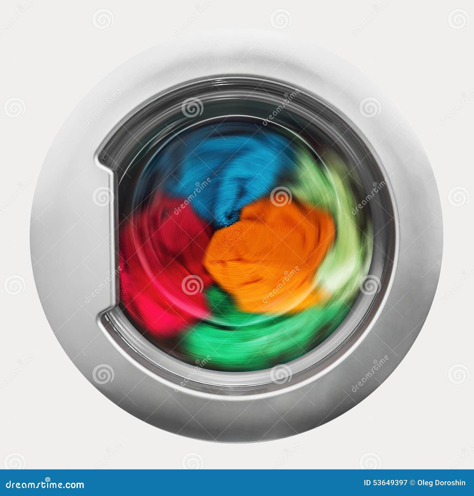 Inside front door clipart - Washing Machine Door With Rotating Garments Inside Stock