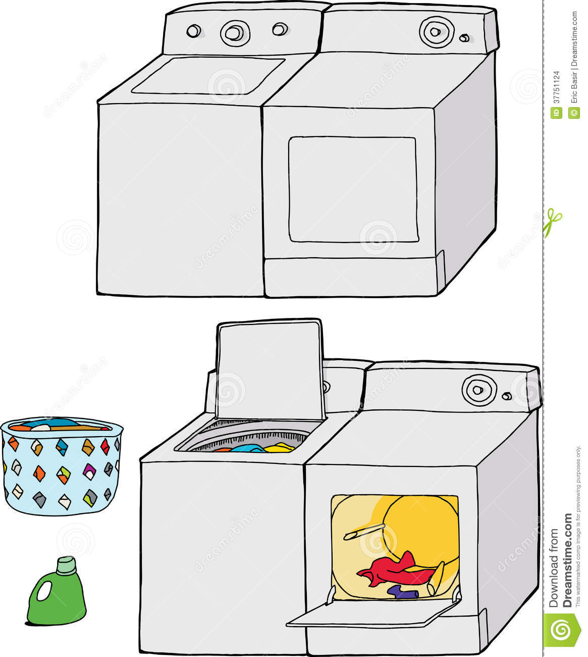 Cartoon Washer And Dryer ~ Washing machine and dryer stock vector illustration of