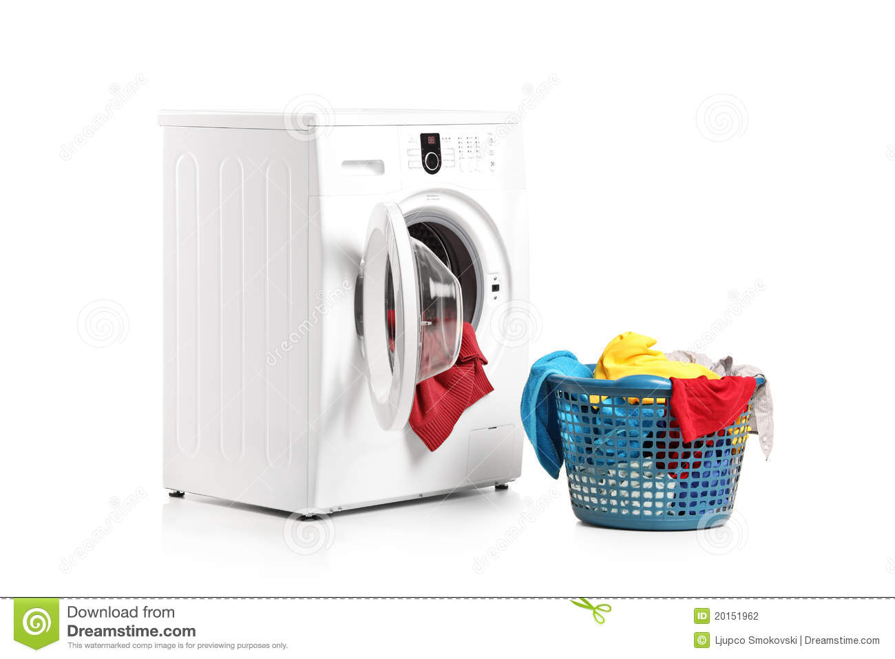 washing machine and full laundry bin stock photography. Black Bedroom Furniture Sets. Home Design Ideas