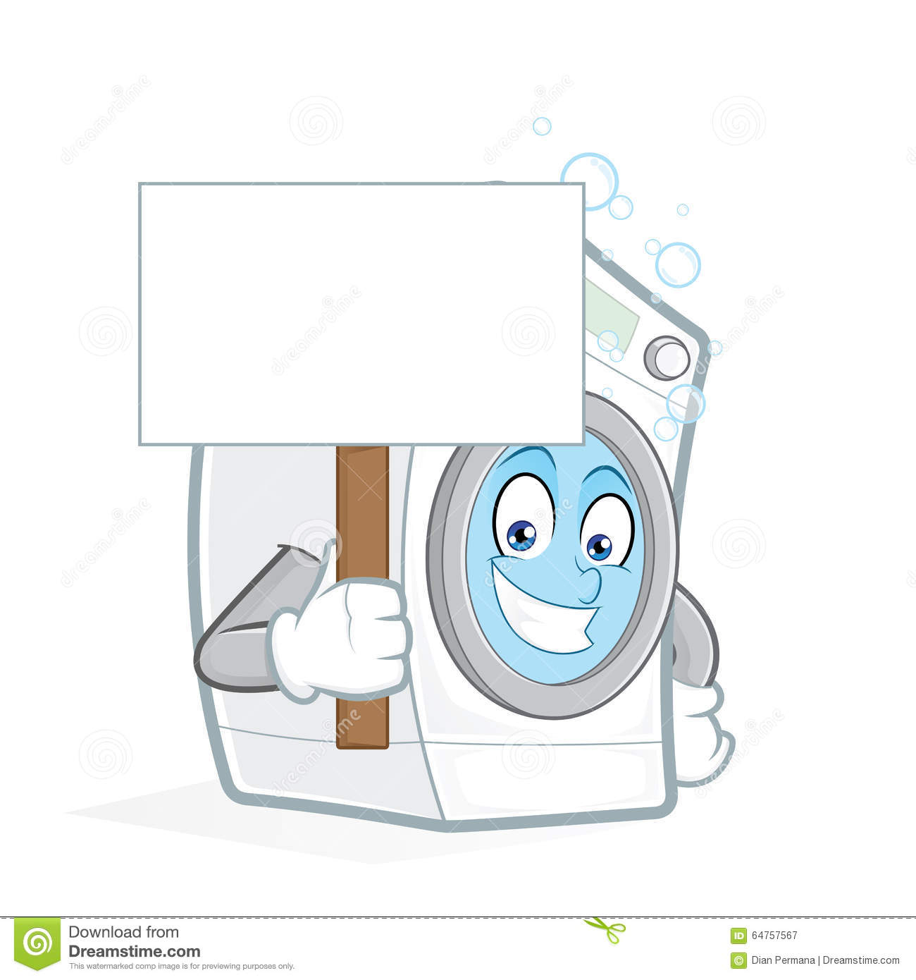 Washing Machine Holding A Blank Sign Stock Vector