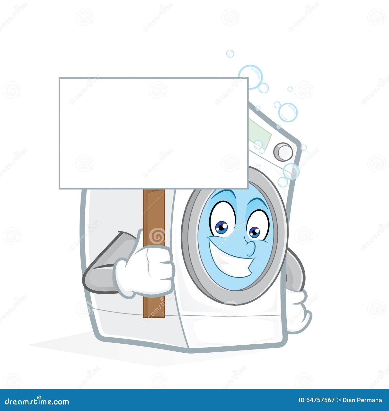 Contoh Spanduk: Washing Machine Holding A Blank Sign Stock Vector