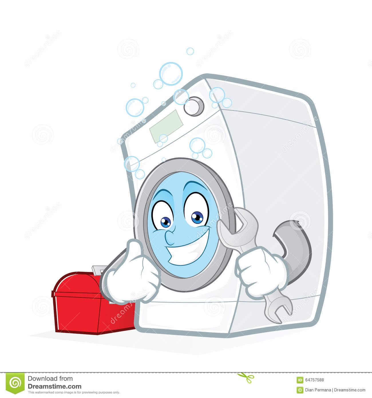 Cartoon Washing Machine ~ Washing machine holding a wrench with toolbox stock vector