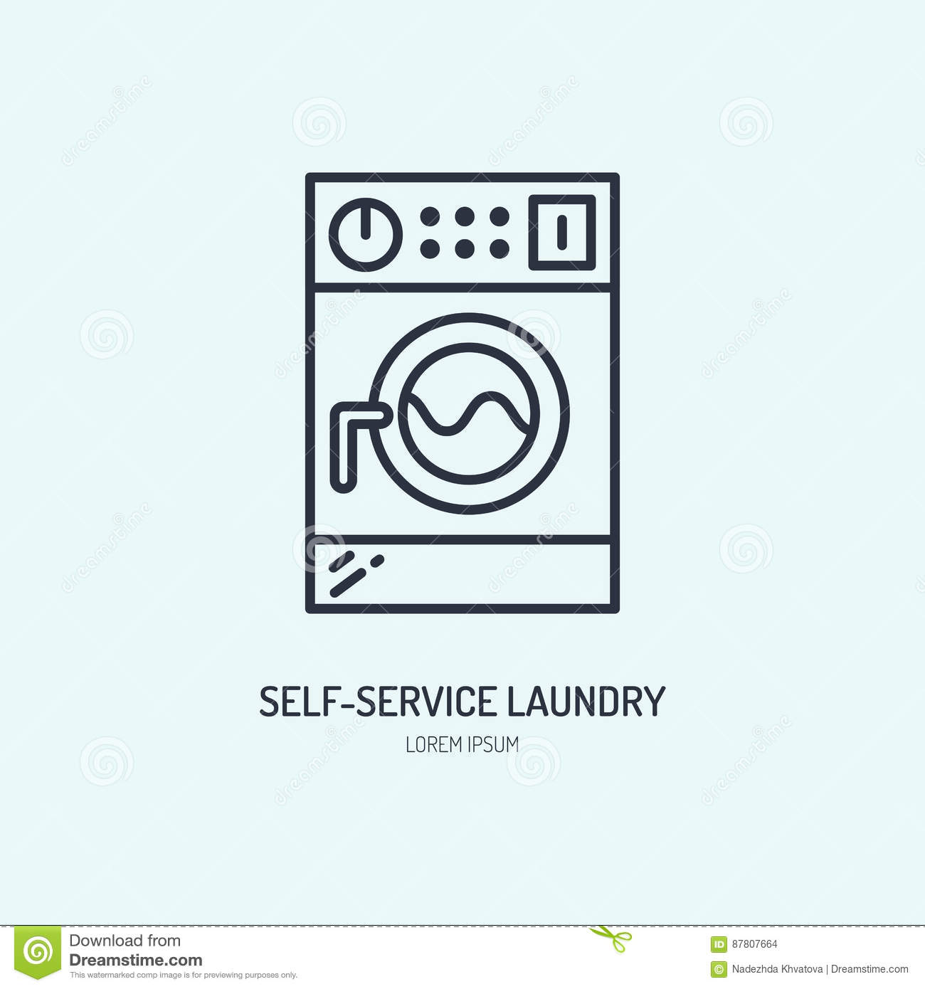 Self Service Laundry ~ Clothes dryer with a sign vector illustration