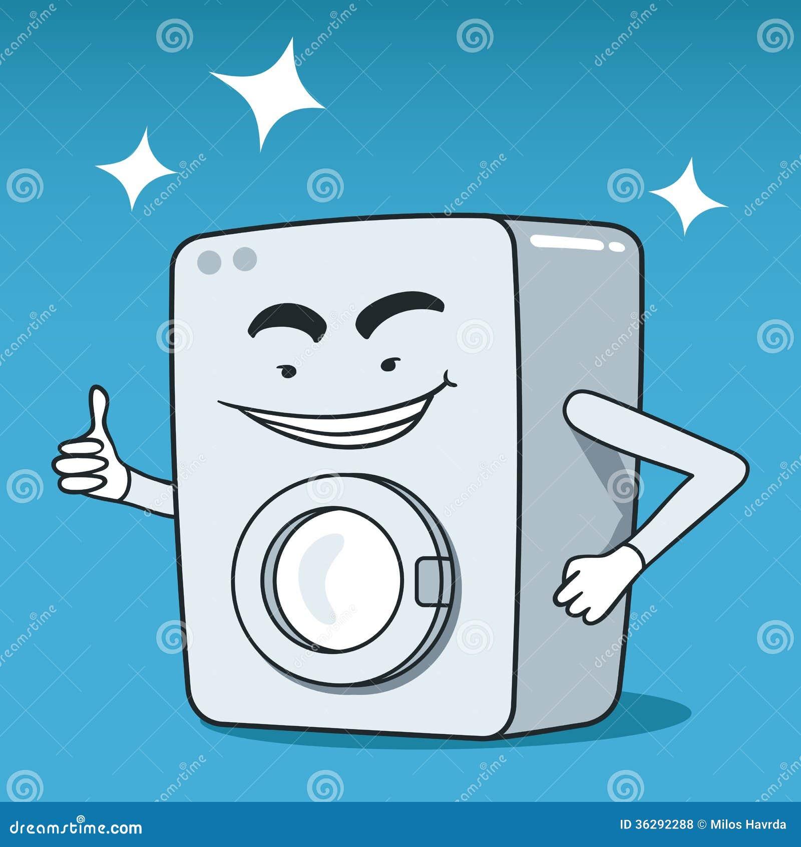 Cartoon Washing Machine ~ Washing machine illustrated character stock vector image