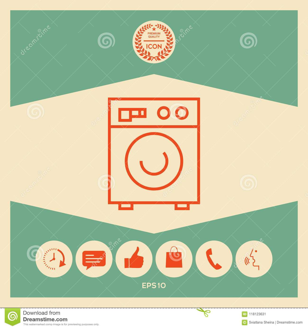 Washing Machine Linear Icon Stock Vector Illustration Of Isolated