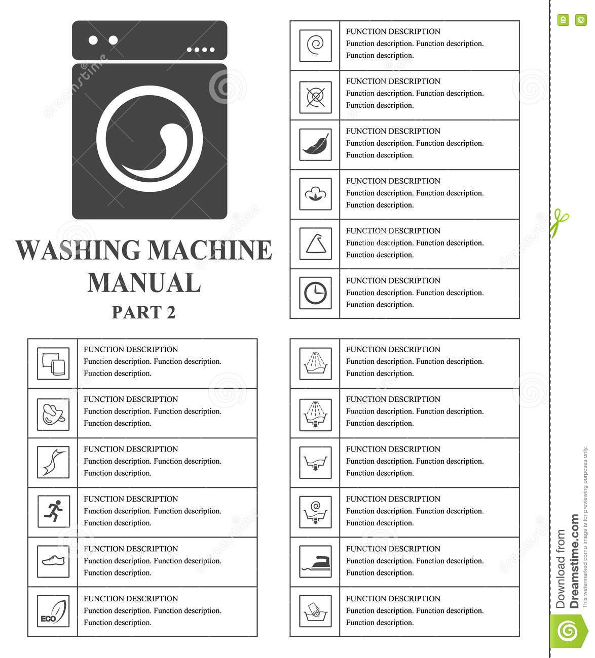 Washing Machine Manual Symbols Part 2 Instructions Signs And