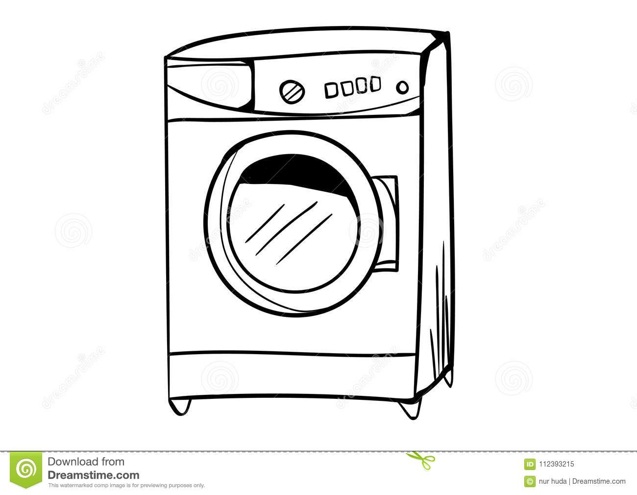 washing machine icon vector with doodle style stock vector