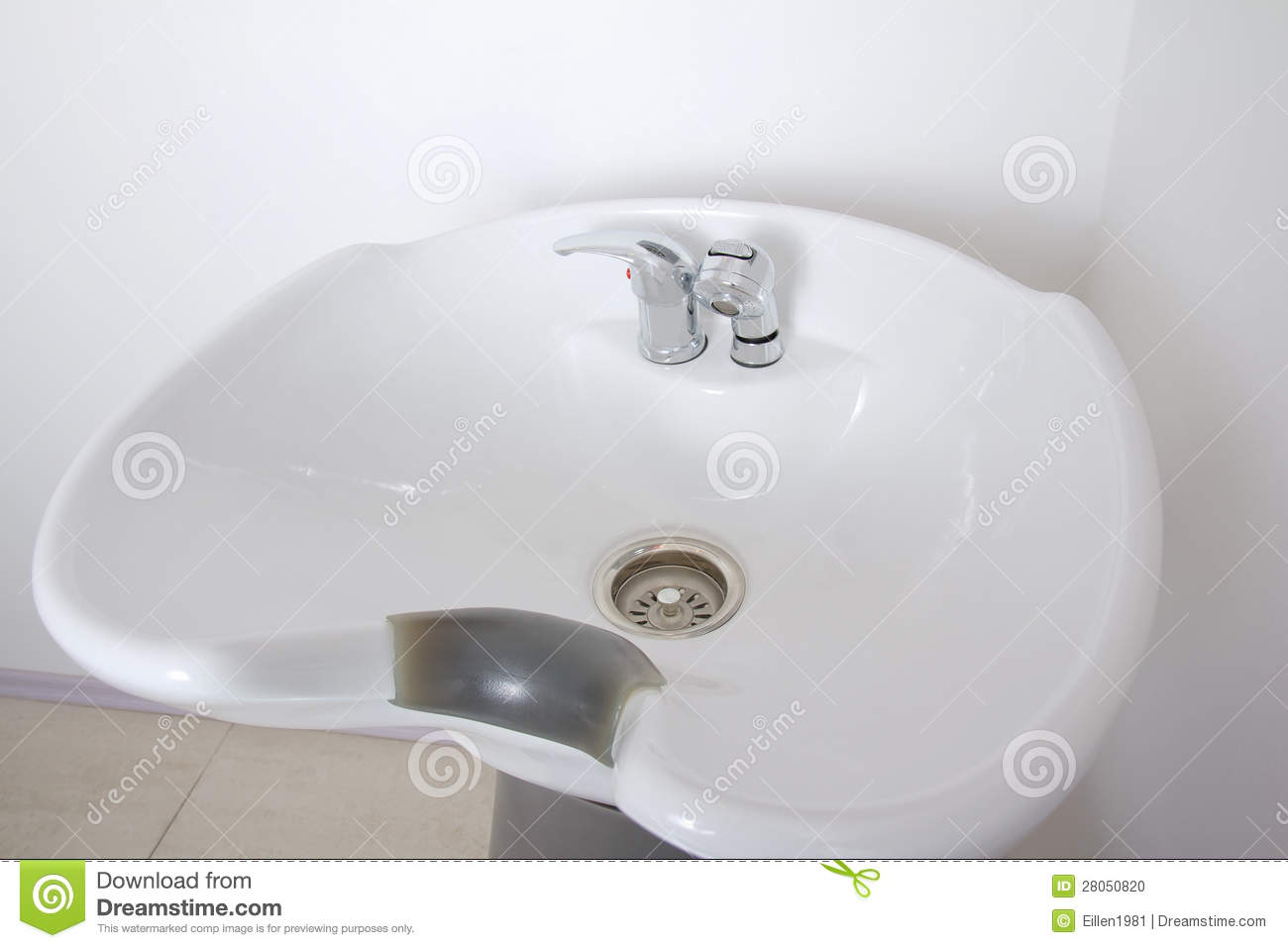 washing sink in a hairstyle salon stock photo