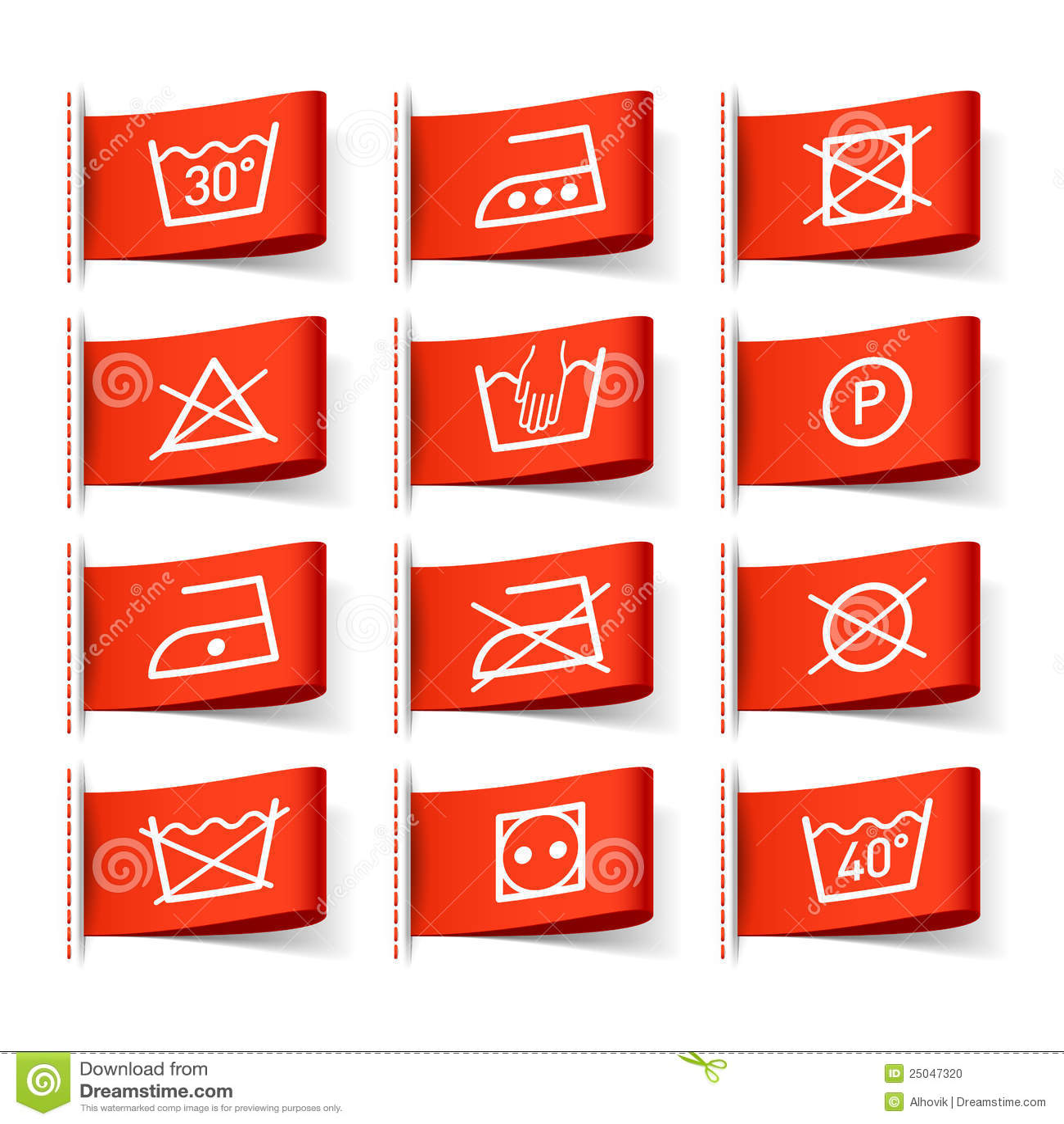 Washing Symbols On Clothing Labels Stock Vector Illustration Of