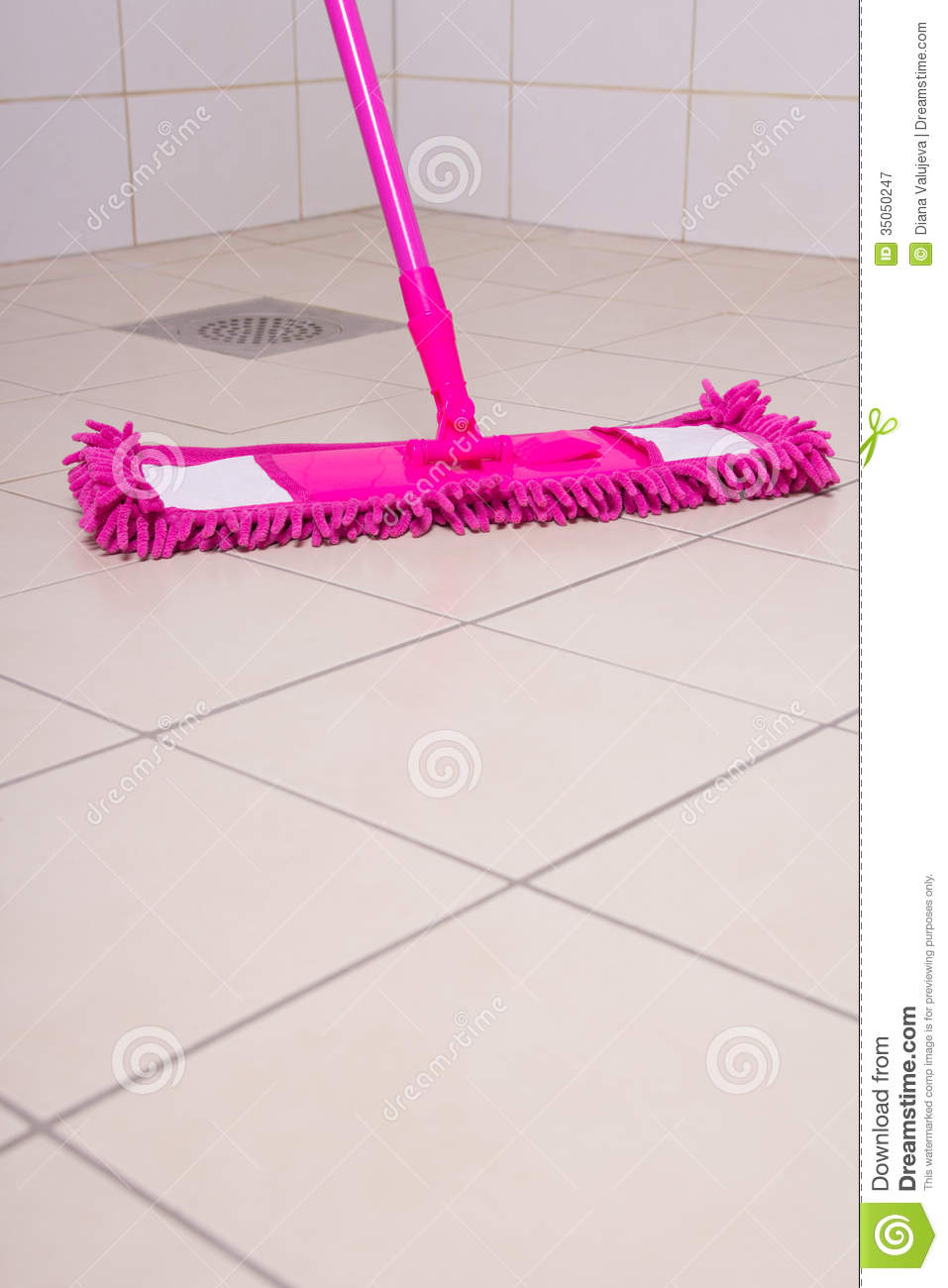 Washing Of Tile Floors By Pink Mop Stock Image Image