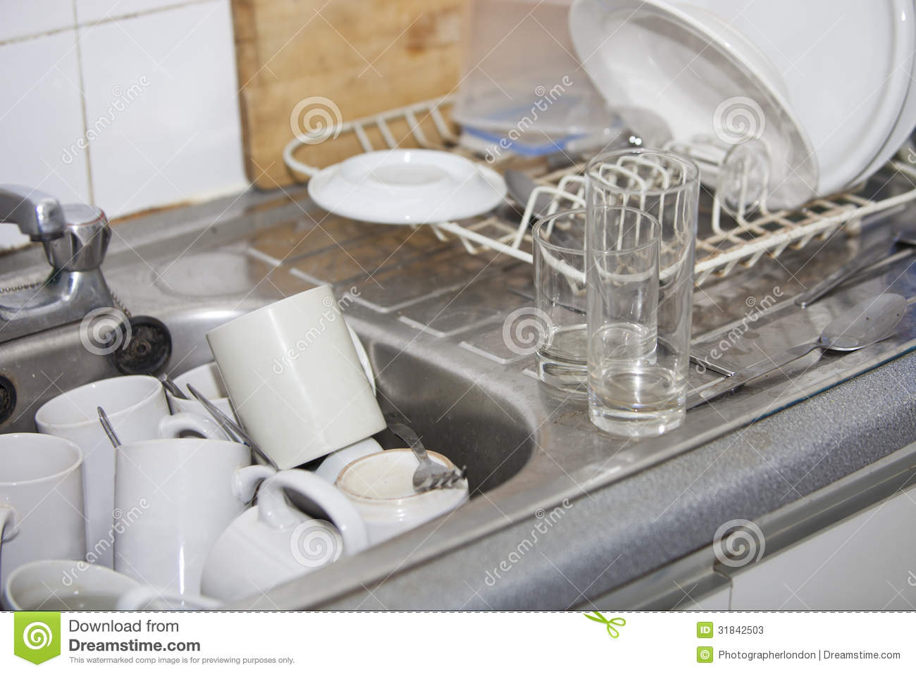 Washing-up In Office Kitchen Sink Stock Photos - Image: 31842503
