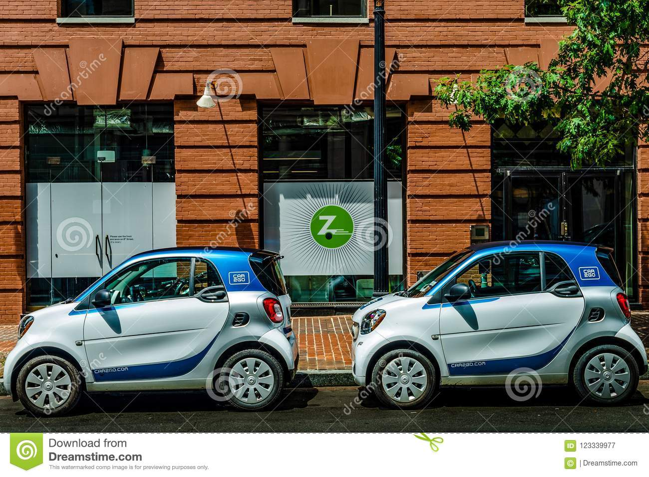 Washington D C July 20 2018 Car2go Cars Parked In Front Of