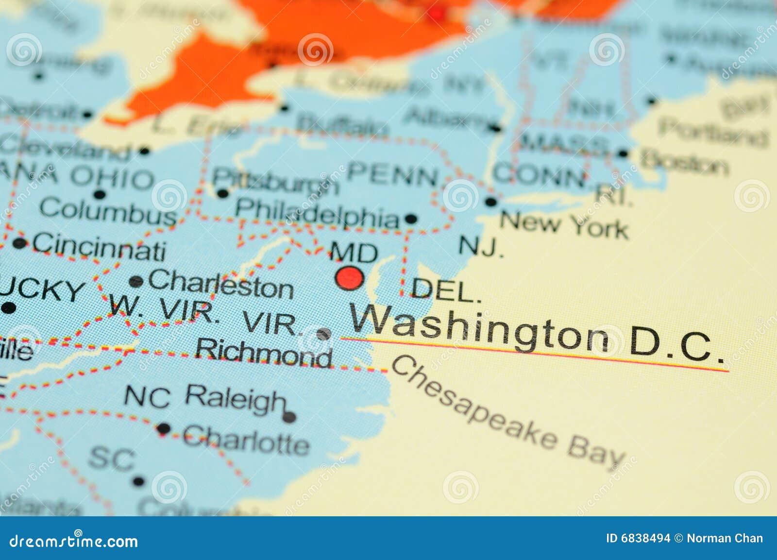 Washington D.C. on map stock photo. Image of washington - 6838494