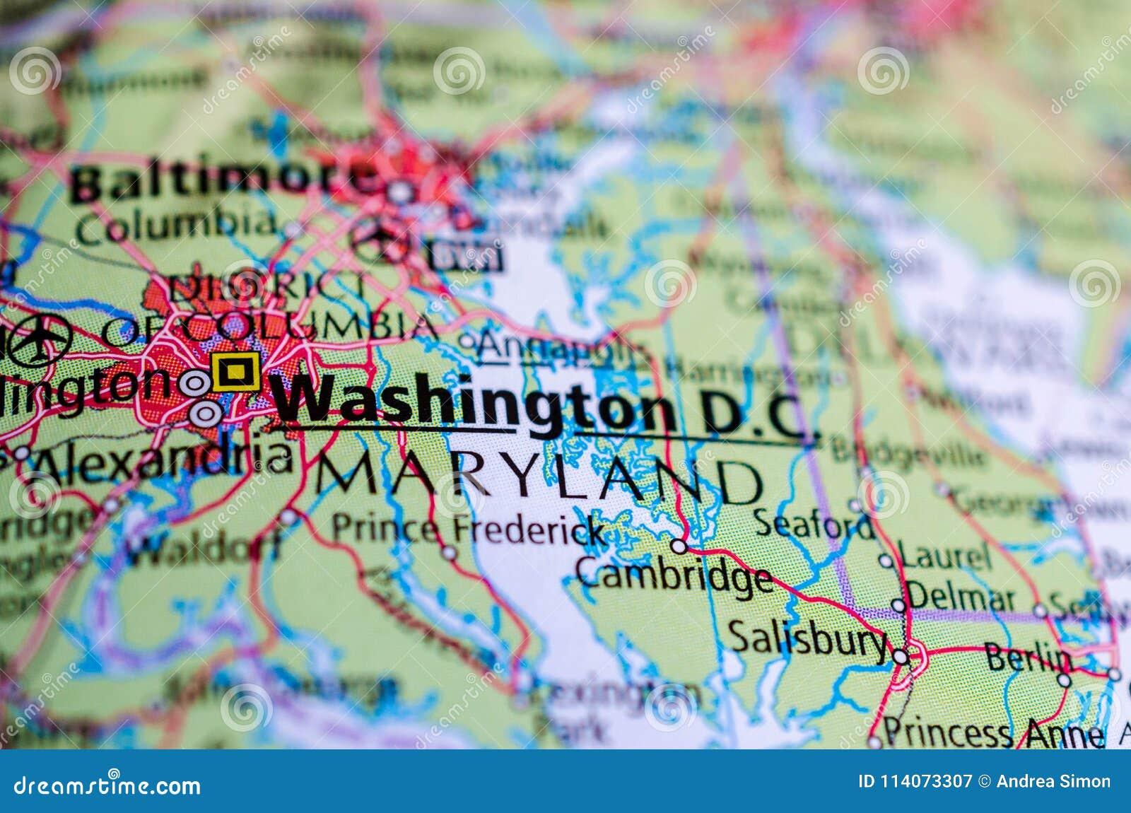 Washington, D.C. on map stock image. Image of satelite - 114073307