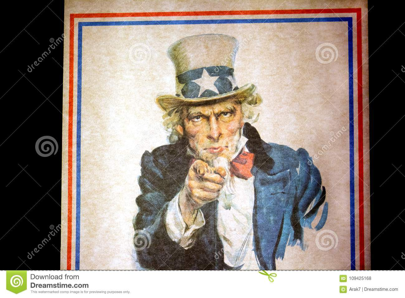 Uncle Sam I Want You For The U S Army Recruitment Poster By Jam Editorial Stock Photo Image Of Government Recruiter 109425168