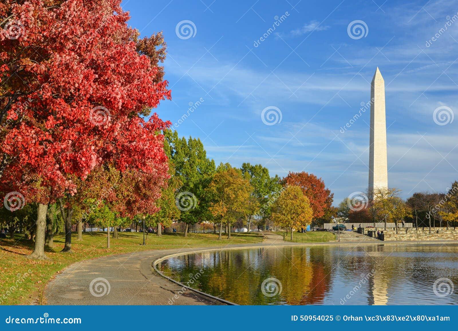 Washington DC, κήποι συνταγμάτων με το μνημείο της Ουάσιγκτον το φθινόπωρο
