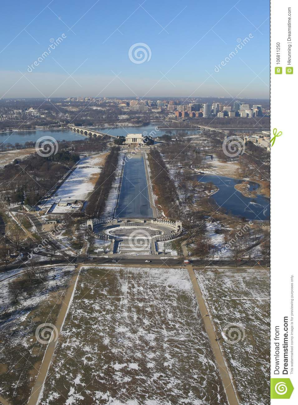 Washington DC in winter, Aerial View