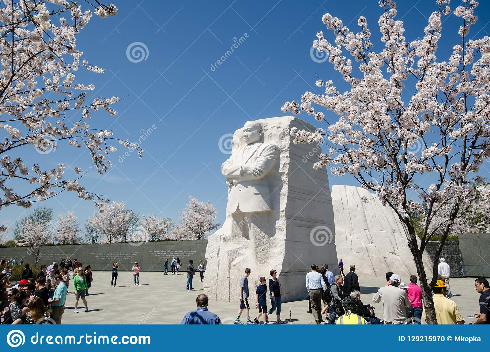 Tourists crowds gather around the MLK Jr. Memorial during the Cherry Blossom Festival in Washington DC