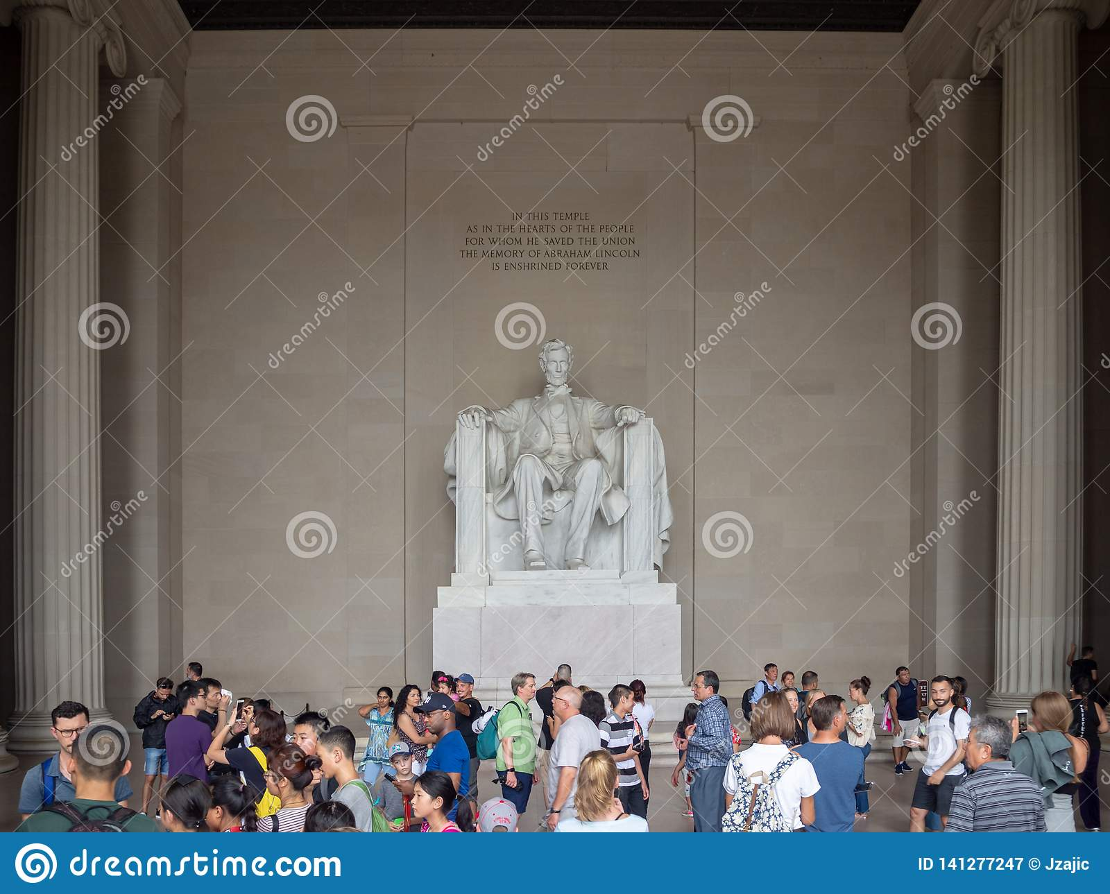 Washington DC, District of Columbia [United States US, Lincoln Memorial over Reflection pool, interior and exterior,