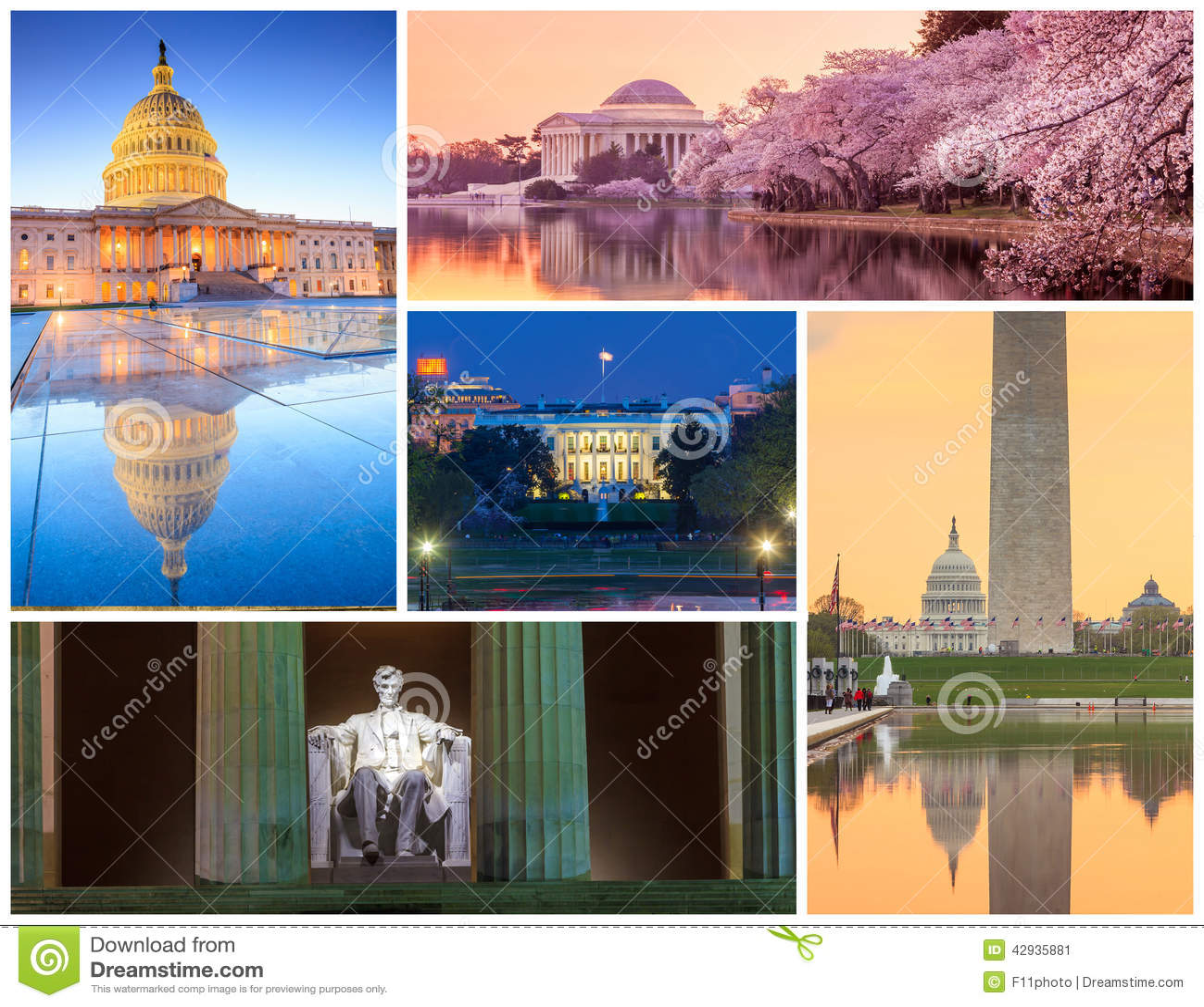 Washington DC Famous Landmarks Picture Collage Stock Photo Image - Washington dc map landmarks